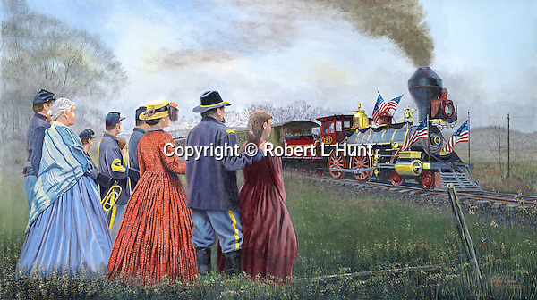 """The Lincoln funeral train passes mourners saying farewell standing by the railroad tracks. Oil on canvas, 20"""" x 26""""."""