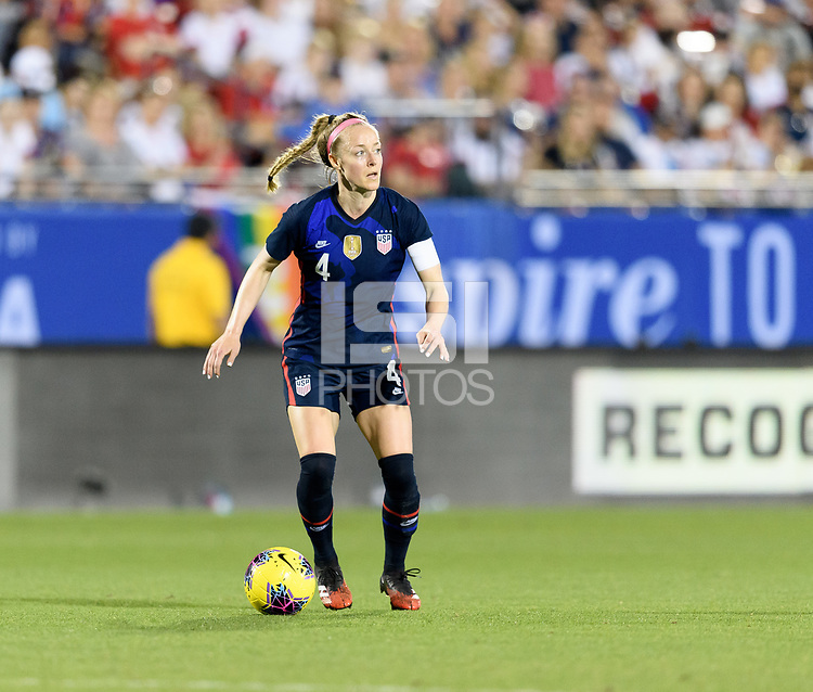 FRISCO, TX - MARCH 11: Becky Sauerbrunn #4 of the United States looks to pass the ball during a game between Japan and USWNT at Toyota Stadium on March 11, 2020 in Frisco, Texas.