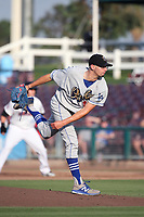 Devin Smeltzer (43) of the Rancho Cucamonga Quakes pitches against the Inland Empire 66ers at San Manuel Stadium on July 9, 2017 in San Bernardino, California. Inland Empire defeated Rancho Cucamonga 12-2. (Larry Goren/Four Seam Images)