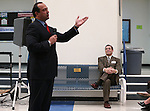Superintendent Richard Stokes listens as Ian Hill speaks at a ceremony launching the Carson City School District Foundation at Carson High School, in Carson City, Nev., on Wednesday, Feb. 18, 2015. <br /> Photo by Cathleen Allison