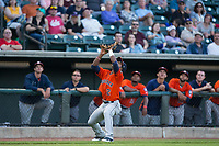 Osvaldo Duarte (2) of the Buies Creek Astros settles under a foul pop fly during the game against the Winston-Salem Dash at BB&T Ballpark on April 13, 2017 in Winston-Salem, North Carolina.  The Dash defeated the Astros 7-1.  (Brian Westerholt/Four Seam Images)