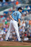 Durham Bulls relief pitcher Justin Marks (40) looks to his catcher for the sign against the Buffalo Bisons at Durham Bulls Athletic Park on April 30, 2017 in Durham, North Carolina.  The Bisons defeated the Bulls 6-1.  (Brian Westerholt/Four Seam Images)