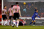 Sheffield United v Gillingham<br /> 16.11.2013<br /> Sky Bet League One.<br /> Picture Shaun Flannery/Trevor Smith Photography<br /> Cody Mc Donald beats United keeper George Long to score Gillingham's 2nd goal.