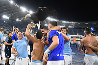 26th September 2021;  Stadio Olimpico, Rome, Italy; Italian Serie A football, SS Lazio versus AS Roma; players of SS Lazio celebrate the victory at the end of the match