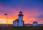 Vashon-Maury Island, WA: Point Robinson Lighthouse at dawn with Mount Rainier in the distance