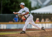 20 June 2021: Vermont Lake Monsters pitcher Isaiah Rhodes, from McKinney, TX, on the mound against the Westfield Starfires at Centennial Field in Burlington, Vermont. The Lake Monsters fell to the Starfires 10-2 at Centennial Field, in Burlington, Vermont. Mandatory Credit: Ed Wolfstein Photo *** RAW (NEF) Image File Available ***