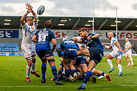 21st August 2020; AJ Bell Stadium, Salford, Lancashire, England; English Premiership Rugby, Sale Sharks versus Exeter Chiefs; Jonny Gray of Exeter Chiefs attempts to block the kick by Will Cliff of Sale Sharks
