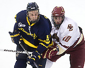 Simon Demers (Merrimack - 5), Jimmy Hayes (BC - 10) - The Boston College Eagles defeated the Merrimack College Warriors 4-3 on Friday, October 30, 2009, at Conte Forum in Chestnut Hill, Massachusetts.
