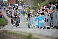 THE decisive moment of the race: Peter Sagan (SVK/Tinkoff) overtakes Sep Vanmarcke (BEL/LottoNL-Jumbo) up The Paterberg and drops him on the spot. From here on, Sagan solo's to the finish.<br /> <br /> 100th Ronde van Vlaanderen 2016