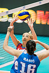 Setter Ana Antonijevic of Serbia sets during the FIVB Volleyball World Grand Prix match between Serbia vs Russia on July 21, 2017 in Hong Kong, China. Photo by Marcio Rodrigo Machado / Power Sport Images