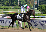 30 August 2008: Jockey Channing Hill celebrates his upset win aboard First Defence in the Grade 1 Forego Stakes at Saratoga Race Course in Saratoga Springs, New York.