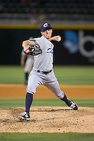 Columbus Clippers relief pitcher Kyle Crockett (38) in action against the Charlotte Knights at BB&T BallPark on May 27, 2015 in Charlotte, North Carolina.  The Clippers defeated the Knights 9-3.  (Brian Westerholt/Four Seam Images)
