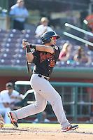 Sebastian Elizalde #20 of the Bakersfield Blaze bats against the Inland Empire 66ers at San Manuel Stadium on August 21, 2014 in San Bernardino, California. Inland Empire defeated Bakersfield, 3-1. (Larry Goren/Four Seam Images)