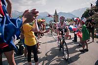 "Polka Dot Jersey / KOM leader Julian Alaphilippe (FRA/Quick Step Floors) coming through ""Dutch Corner"" (#7) on Alpe d'Huez<br /> <br /> Stage 12: Bourg-Saint-Maurice / Les Arcs > Alpe d'Huez (175km)<br /> <br /> 105th Tour de France 2018<br /> ©kramon"