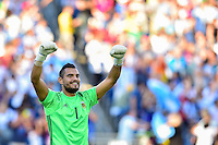 Foxborough, MA - Saturday June 18, 2016: Sergio Romero celebrates prior to a Copa America Centenario quarterfinal match between Argentina (ARG) and Venezuela (VEN)  at Gillette Stadium.