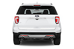 Straight rear view of a 2017 Ford Explorer XLT 4 Door SUV Rear View  stock images