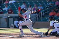 Mesa Solar Sox third baseman Kelvin Gutierrez (21) of the Washington Nationals organization, lines a triple to left field during an Arizona Fall League game against the Salt River Rafters on October 30, 2017 at Salt River Fields at Talking Stick in Scottsdale, Arizona. The Solar Sox defeated the Rafters 8-4. (Zachary Lucy/Four Seam Images)