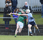 Diarmuid Conway of St Fergal's College in action against Fionn Slattery of Scariff Community College during their All-Ireland Colleges final at Toomevara. Photograph by John Kelly.