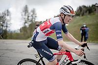 Mattias Skjelmose Jensen (DEN/Trek - Segafredo) up the climb towards La Plagne (HC/2072m/17.1km@7.5%) <br /> <br /> 73rd Critérium du Dauphiné 2021 (2.UWT)<br /> Stage 7 from Saint-Martin-le-Vinoux to La Plagne (171km)<br /> <br /> ©kramon