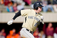 Matt Conway #25 of the Wake Forest Demon Deacons hustles down the first base line against the Virginia Tech Hokies at English Field March 27, 2010, in Blacksburg, Virginia.  Photo by Brian Westerholt / Four Seam Images