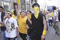 - young members of Latin Kings group participate to national demonstration of immigrants against restrictive laws of government....- giovani aderenti al gruppo dei Latin Kings partecipano alla manifestazione nazionale degli immigranti contro le leggi restrittive del governo