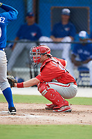 Philadelphia Phillies catcher Henri Lartigue (22) awaits the pitch during an Instructional League game against the Toronto Blue Jays on October 7, 2017 at the Englebert Complex in Dunedin, Florida.  (Mike Janes/Four Seam Images)