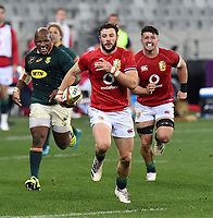Robbie Henshaw - British & Irish Lions centre makes a clean break upfield with support from and Tom Curry (R) as Bongi Mbonambi - South Africa hooker gives chase.<br /> South Africa v British & Irish Lions, 1st Test, Cape Town Stadium, Cape Town, South Africa,  Saturday 24th July 2021. <br /> Please credit: FOTOSPORT/DAVID GIBSON