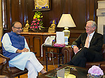 26 October 2015, New Delhi, India : Andrew  Robb, AO, Minister for Trade and Investment meeting with Finance Minister Mr Arun Jaitley,  during his visit to India for the Australia India Leadership Dialogue. Picture by Graham Crouch/DFAT