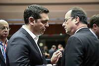 Pictured L-R: Greek Prime Minister Alexis Tsipras with French President Francois Hollande Thursday 18 February 2016<br /> Re: David Cameron looks set to secure European Union deal on Britain's reforms during a summit in Brussels, Belgium.