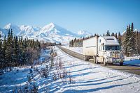 Trucking along the Richardson Highway just north of the Alaska Range.