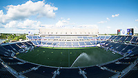 Orlando, Florida - Saturday, April 23, 2016: The field is watered before an NWSL match between Orlando Pride and Houston Dash at the Orlando Citrus Bowl.