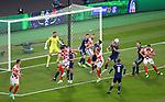 23.06.2021 Croatia v Scotland follow ups: Kieran Tierney and Lyndon Dykes try to get to the ball