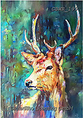 Simon, REALISTIC ANIMALS, REALISTISCHE TIERE, ANIMALES REALISTICOS, innovative, paintings+++++SueGardner_WatcherInTheWood,GBWR199,#a#, EVERYDAY ,deer,