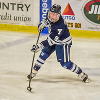 4 January 2014:  Yale University Bulldog forward Carson Cooper, a Sophomore from Bow Island, AB, in third period action against the University of Vermont Catamounts at Gutterson Fieldhouse in Burlington, Vermont. With an empty net and seconds remaining, the Cats came back to tie the game 3-3 against the 10th seeded Bulldogs. Mandatory Credit: Ed Wolfstein Photo *** RAW (NEF) Image File Available ***