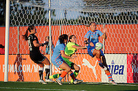 Carrie Dew (19) of Sky Blue FC clears the ball of the goal line. The Western New York Flash defeated Sky Blue FC 4-1 during a Women's Professional Soccer (WPS) match at Yurcak Field in Piscataway, NJ, on July 30, 2011.