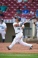 Cedar Rapids Kernels third baseman Chris Ibarra (15) at bat during a game against the Dayton Dragons on July 24, 2016 at Perfect Game Field in Cedar Rapids, Iowa.  Cedar Rapids defeated Dayton 10-6.  (Mike Janes/Four Seam Images)