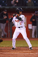 Lansing Lugnuts Otto Lopez (2) at bat during a Midwest League game against the Wisconsin Timber Rattlers at Cooley Law School Stadium on May 2, 2019 in Lansing, Michigan. Lansing defeated Wisconsin 10-4. (Zachary Lucy/Four Seam Images)