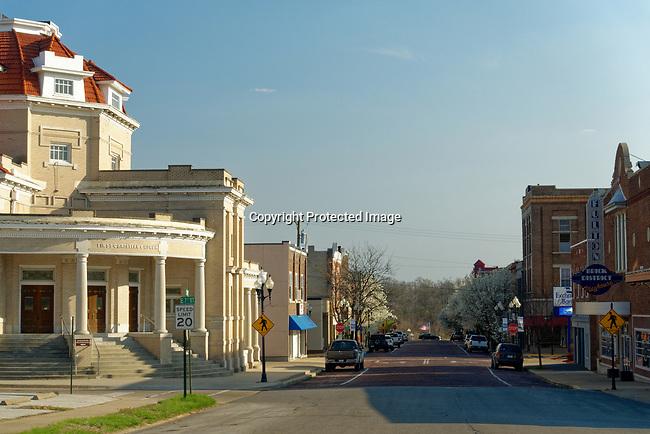 Springtime view of downtown Fulton, Missouri, USA