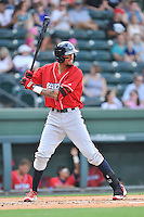 Right fielder Jose Pujols (23) of the Lakewood BlueClaws bats in a game against the Greenville Drive on Sunday, June 26, 2016, at Fluor Field at the West End in Greenville, South Carolina. Greenville won, 2-1. (Tom Priddy/Four Seam Images)