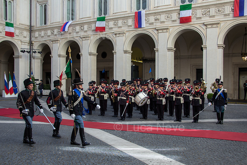 Rome, 04/07/2019. Today, the four-time President of the Russian Federation, Vladimir Putin, visited Palazzo Chigi (Official Residence of the Italian Prime Minister and official meeting place of the Council of the Ministers) where he had a private meeting and a press conference with the Italian Prime Minister, Giuseppe Conte. During his visit to Italy, President Putin met Pope Francis, the President of the Italian Republic, Sergio Mattarella, and his old friend and Italian politician, Silvio Berlusconi.   <br /> <br /> Footnotes and Links:<br /> For a Video of the Press Conference please click here (Source, Palazzo Chigi on Youtube): https://youtu.be/4Bdssi0L9PI