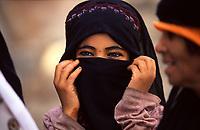 Yemen south, smiling veiled girl