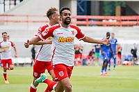 celebrate the goal, Torjubel zum 0:1 Sarpreet Singh (Jahn Regensburg) mitv Max Besuschkow (Jahn Regensburg)<br /> <br /> - 24.07.2021 Fussball 2. Bundesliga, Saison 21/22, Spieltag 1, SV Darmstadt 98 - SV Jahn Regensburg, Stadion am Boellenfalltor, emonline, emspor, <br /> <br /> Foto: Marc Schueler/Sportpics.de<br /> Nur für journalistische Zwecke. Only for editorial use. (DFL/DFB REGULATIONS PROHIBIT ANY USE OF PHOTOGRAPHS as IMAGE SEQUENCES and/or QUASI-VIDEO)