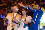 The cast of Cinderella panto during the Christmas lights turn on parade through Swansea City Centre. Childrens CBBC TV presenter Chris Jarvis is pictured on the right of the shot in the blue costume..