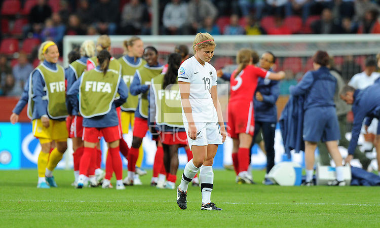 Rosie White (C) of team New Zealand is disappointed during the FIFA Women's World Cup at the FIFA Stadium in Dresden, Germany on July 1st, 2011.