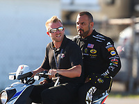 Sep 2, 2017; Clermont, IN, USA; NHRA top fuel driver Tony Schumacher (right) during qualifying for the US Nationals at Lucas Oil Raceway. Mandatory Credit: Mark J. Rebilas-USA TODAY Sports