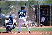 AZL Padres 1 designated hitter Nick Gatgewood (33) at bat in front of catcher Stephan Vidal (13) during an Arizona League game against the AZL Royals at Peoria Sports Complex on July 4, 2018 in Peoria, Arizona. The AZL Royals defeated the AZL Padres 1 5-4. (Zachary Lucy/Four Seam Images)