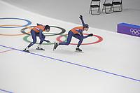 OLYMPIC GAMES: PYEONGCHANG: 17-02-2018, Gangneung Oval, Long Track, Training session, Kai Verbij (NED), Ronald Mulder (NED), ©photo Martin de Jong