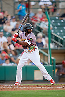 Rochester Red Wings designated hitter Chris Carter (45) at bat during a game against the Lehigh Valley IronPigs on June 29, 2018 at Frontier Field in Rochester, New York.  Lehigh Valley defeated Rochester 2-1.  (Mike Janes/Four Seam Images)