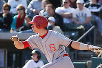 Ryan Mathews of the North Carolina State Wolfpack hitting during  a game against  the Coastal Carolina University Chanticleers at the Baseball at the Beach Tournament held at BB&T Coastal Field in Myrtle Beach, SC on February 28, 2010.