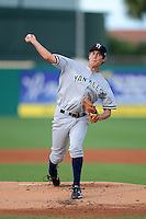 Tampa Yankees pitcher Scottie Allen (45) during a game against the Jupiter Hammerheads on July 17, 2013 at Roger Dean Stadium in Jupiter, Florida.  Jupiter defeated Tampa 4-3.  (Mike Janes/Four Seam Images)